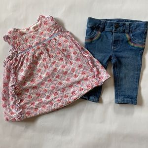 Joules floral dress and Carter's rainbow jeans